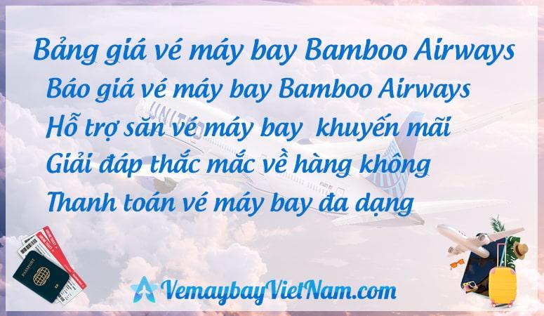 Bảng giá vé máy bay Bamboo Airways