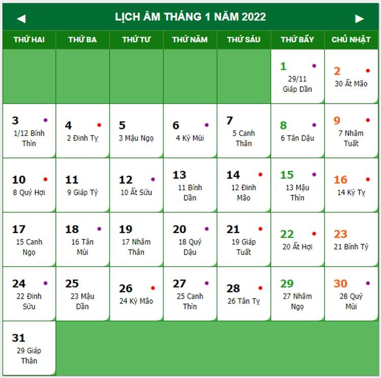Lịch nghỉ Tết nguyên đán & Tết dương lịch 2022